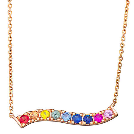 Rainbow Sapphire Bar Necklace in 14k Gold