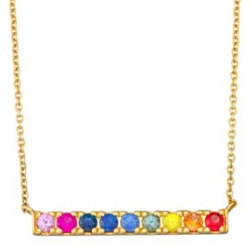Rainbow Sapphire and Bar Necklace in 14k Gold
