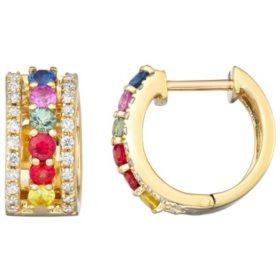 Rainbow Sapphire and Diamond Huggie Hoop Earrings in 14K Gold