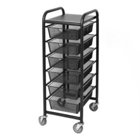 Seville Classics Satin Graphite Steel Mesh 6-Drawer Cart