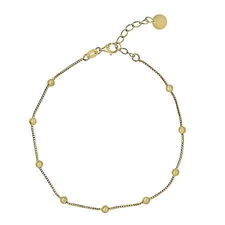 14k Gold Bead Stationed Bracelet