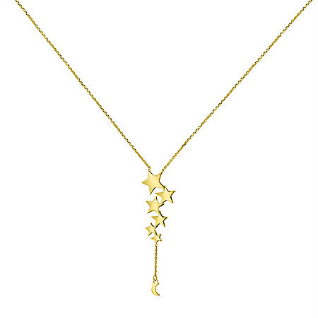 "14K Gold Multi Star Drop Necklace, 16""-18"""