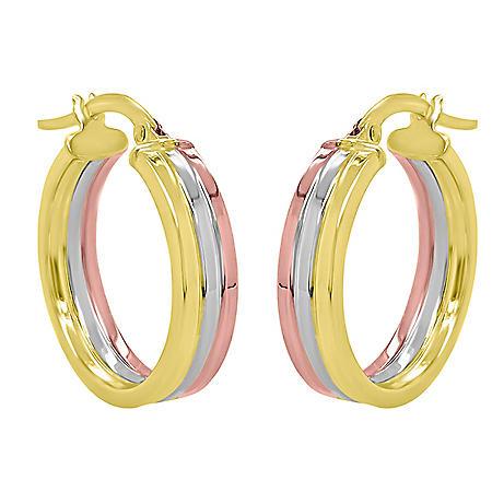 14K Italian High Polish Tri Colored Gold Hoop Earrings