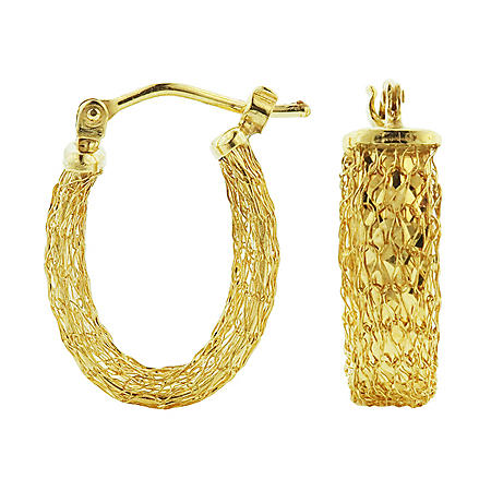 14K Gold Italian Woven Textured Hoop Earrings