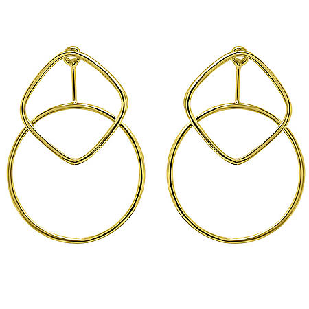 14K Gold Square & Round Post Earrings
