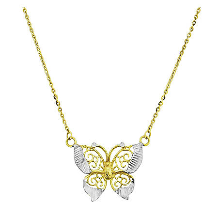 14k Two Tone Gold Butterfly Necklace