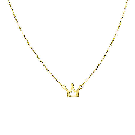"""14K Yellow Gold Crown Necklace, 15.75-17.75"""""""