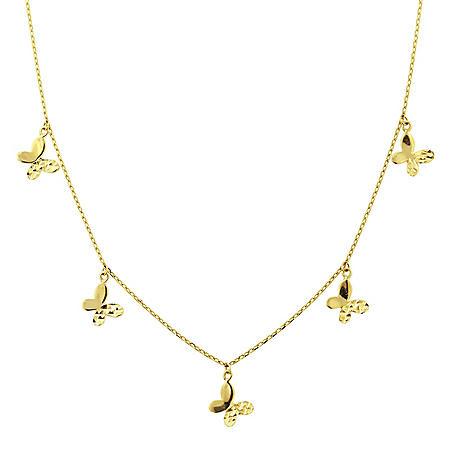 """14K Gold Multi Butterfly Necklace, 16-18"""""""