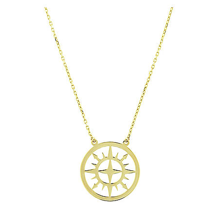 """14K Yellow Gold Compass Disk Necklace, 16-18"""""""