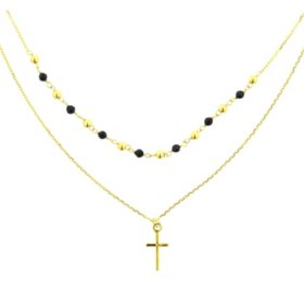 14k Gold Double Strand Spinel Necklace with Cross