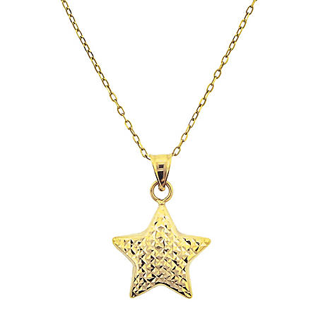 14K Gold Diamond Cut Star Necklace, 18""
