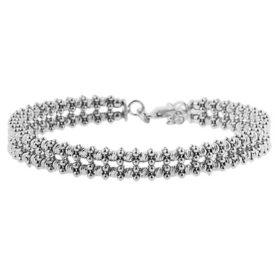 Italian Sterling Silver Double Strand Bead Bracelet