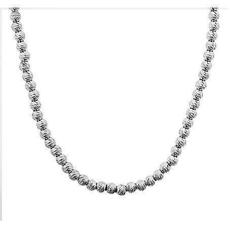 "Italian Sterling Silver Diamond Cut Bead Necklace, 18-20"""