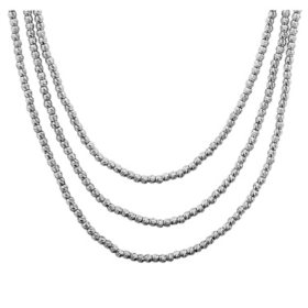 Italian Sterling Silver Triple Strand Bead Necklace, 18""