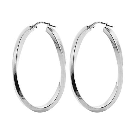 Italian Sterling Silver High Polish Curved Oval Hoop Earrings