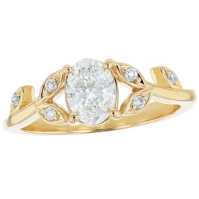 S Collection Bridal 3/4 Carat Center Diamond Oval Leaf Ring in 14K Yellow Gold (SI, H-I)