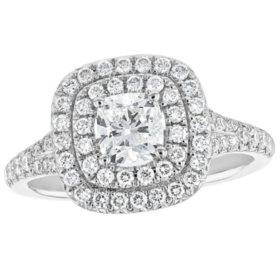 S Collection Bridal 1.30 CT. T.W. Double Halo Diamond Cushion Cut Ring in 14K White Gold (SI, H-I)