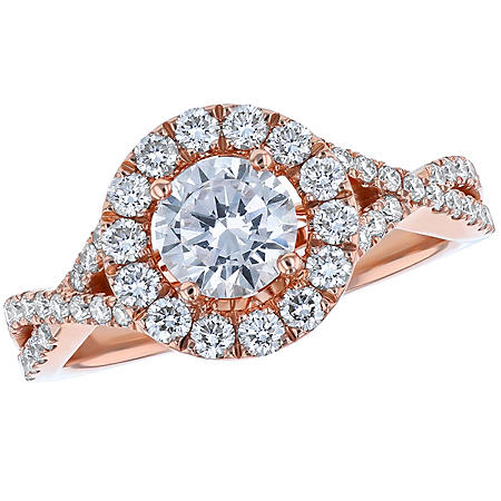 S Collection Bridal 1.35 CT. T.W. Diamond Halo Twist Ring in 14K Gold (SI, H-I)