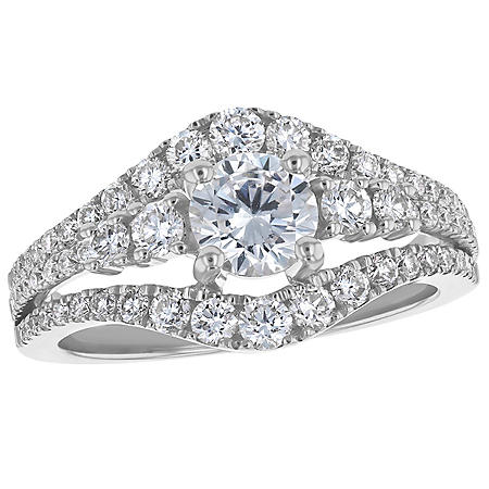 S Collection Bridal 1.75 CT. T.W. Triple Split Shank Diamond Halo Ring in 14K Gold (SI, H-I)