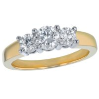S Collection Bridal 1 CT. T.W. Three Stone Diamond Ring in 14K Two-Tone Gold (SI, H-I)