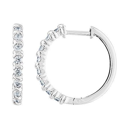 0.50 CT. T.W. Diamond Hoop Earrings in 14K Gold