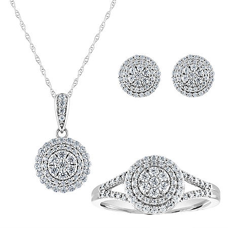 1.00 CT. T.W. Diamond Earring, Pendant, and Ring 3 Piece Set in 14K Gold