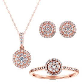 0.53 CT. T.W. Diamond Earring, Pendant, and Ring 3 Piece Set in 14K Gold