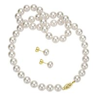 11-12mm White Freshwater Pearl Necklace and Earring Set