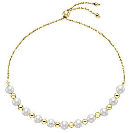 Akoya Pearl Adjustable Bolo Bracelet in 14k Yellow Gold