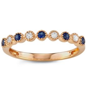 Blue Sapphire and Diamond Band in 14k Gold