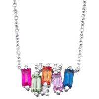 Rainbow Sapphire and Diamond Necklace in 14k Gold