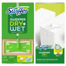 Swiffer Sweeper Dry + Wet sweeping Kit and Swiffer Sweeper Dry Pad Refills, Unscented (86 ct.)