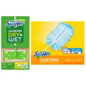 Swiffer Sweeper Dry + Wet Sweeping Kit + Swiffer Duster Refill + 1 Handle (28 ct.) Bundle