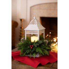 White LED Candle Lantern with Fresh Greens Centerpiece