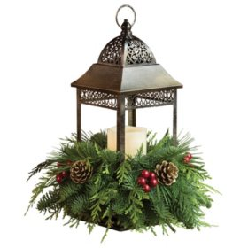 Bronze LED Candle Lantern with Fresh Greens Centerpiece