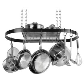 Range Kleen Black Enameled Steel Oval Hanging Pot Rack
