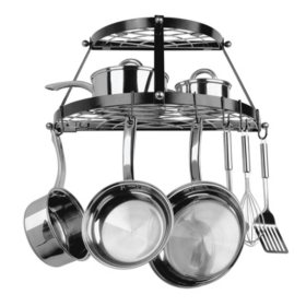 Range Kleen Black Enameled Double Shelf Wall-Mounted Pot Rack