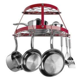 Range Kleen Red Enameled Double Shelf Wall-Mounted Pot Rack