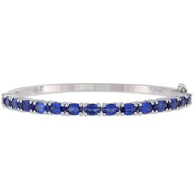 8.25 CT. Created Blue Sapphire Bangle Bracelet in Sterling Silver
