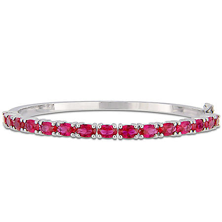 11.25 CT. Created Ruby Bangle Bracelet in Sterling Silver
