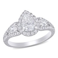Elegance by Allura 1.87 CT. T.W. Pear and Round-Cut Diamond Three Stone Halo Engagement Ring in 14k White Gold