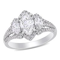 Elegance by Allura 1.79 CT. T.W. Marquise and Round-Cut Diamond Three Stone Halo Engagement Ring in 14k White Gold