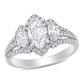Elegance by Allura 1.8 CT. T.W. Marquise and Round-Cut Diamonds 3-Stone Halo Engagement Ring in 14k White Gold