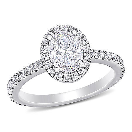 Elegance by Allura 1.50 CT. T.W. Oval and Round-Cut Diamonds Halo Engagement Ring in 18k White Gold