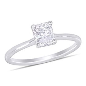 Elegance by Allura 1 CT. T.W. Radiant-Cut Diamond Solitaire Engagement Ring in 18k White Gold