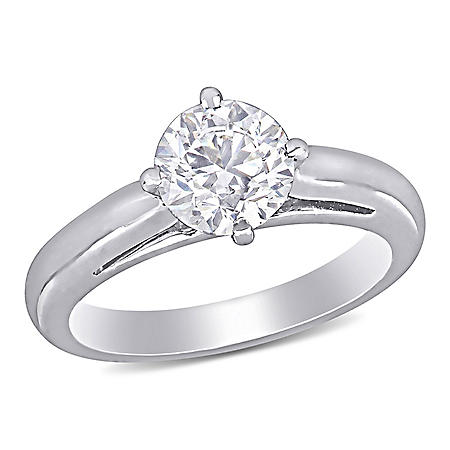 Elegance by Allura 1 CT. T.W. Diamond Solitaire Engagement Ring in 18k White Gold