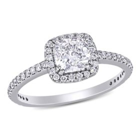 Elegance by Allura 1.30 CT. T.W. Cushion and Round-Cut Diamond Halo Engagement Ring in 14k White Gold