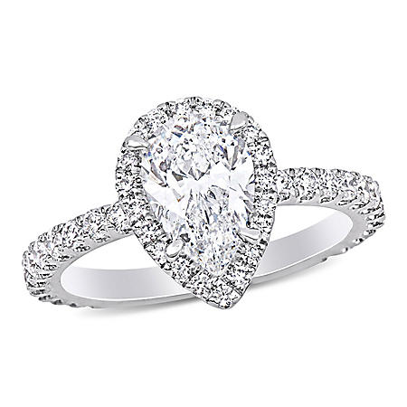 Elegance by Allura 2.12 CT. T.W. Pear and Round-Cut Diamond Teardrop Halo Engagement Ring in 18k White Gold