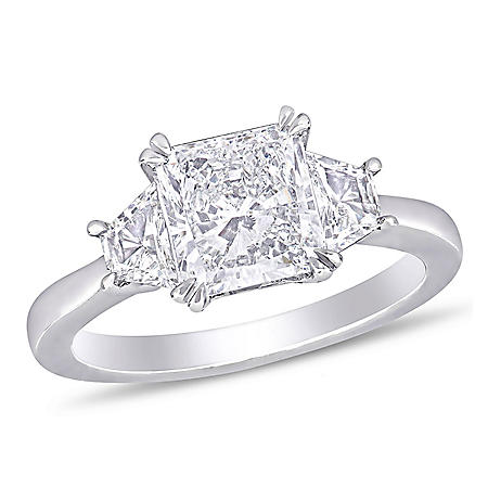 Allura 2.45 CT. T.W. Radiant-Cut Diamond 3-Stone Engagement Ring in 18k White Gold