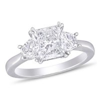 Allura 2.45 CT. T.W. Radiant-Cut Diamond Three Stone Engagement Ring in 18k White Gold